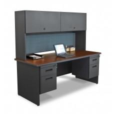 "Pronto 72"" Double File Desk with Flipper Door Cabinet, 72W x 30D:Dark Neutral/Slate"