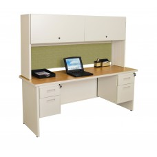 """Pronto 72"""" Double File Desk with Flipper Door Cabinet, 72W x 30D:Putty/Peridot"""
