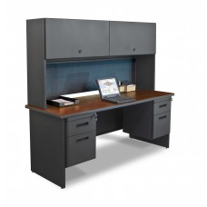 "Pronto 72"" Double File Desk Credenza Including Flipper Door Cabinet, 72W x 24D:Dark Neutral/Slate"