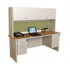 "Pronto 72"" Double File Desk Credenza Including Flipper Door Cabinet, 72W x 24D:Putty/Peridot"
