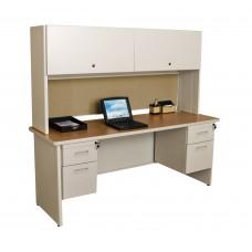 "Pronto 72"" Double File Desk Credenza Including Flipper Door Cabinet, 72W x 24D:Putty/Beryl"