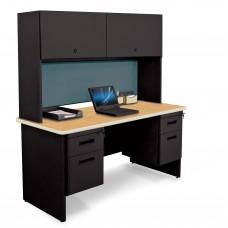 "Pronto 60"" Double File Desk Credenza Including Flipper Door Cabinet, 60W x 24D:Black/Oak, Slate"