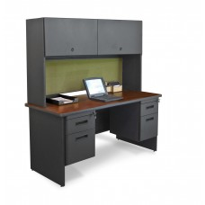 "Pronto 60"" Double File Desk Credenza Including Flipper Door Cabinet, 60W x 24D:Dark Neutral/Peridot"