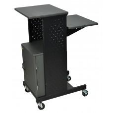 Luxor Gray 4 Shelf Mobile Presentation Station W/ Cabinet