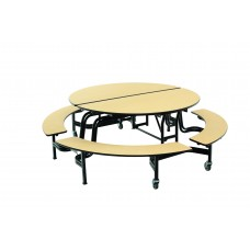 "MBR604 - Mobile Bench Table - Round - 60"" Round Diameter - 4 Benches"