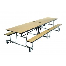"MBT12 - Mobile Bench Table - Rectangle - 30""W x 12'1""L - 4 Benches"