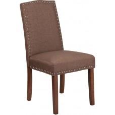 HERCULES Hampton Hill Series Brown Fabric Parsons Chair with Silver Nail Heads [QY-A13-9349-BN-GG]