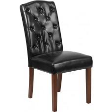 HERCULES Grove Park Series Black Leather Tufted Parsons Chair [QY-A18-9325-BK-GG]