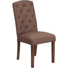 HERCULES Grove Park Series Brown Fabric Tufted Parsons Chair [QY-A18-9325-BN-GG]