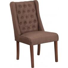HERCULES Preston Series Brown Fabric Tufted Parsons Chair [QY-A91-BN-GG]