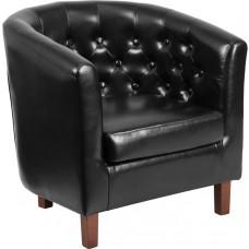 HERCULES Cranford Series Black Leather Tufted Barrel Chair [QY-B16-HY-9030-4-BK-GG]
