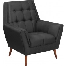 HERCULES Kensington Series Contemporary Black Fabric Tufted Arm Chair [QY-B62-BK-GG]