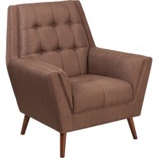 HERCULES Kensington Series Contemporary Brown Fabric Tufted Arm Chair [QY-B62-BN-GG]