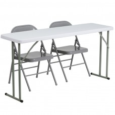 18'' x 60'' Plastic Folding Training Table Set with 2 Gray Metal Folding Chairs [RB-1860-1-GG]