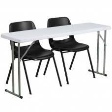 18'' x 60'' Plastic Folding Training Table Set with 2 Black Plastic Stack Chairs [RB-1860-2-GG]