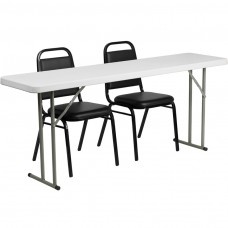 18'' x 72'' Plastic Folding Training Table Set with 2 Trapezoidal Back Stack Chairs [RB-1872-2-GG]