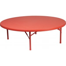 60'' Round Kid's Red Plastic Folding Table [RB-60R-KID-RD-GG]