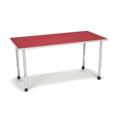 OFM Adapt Series Rectangle Standard Table - 25-33″ Height Adjustable Desk with Casters, Red (RECT-LLC)
