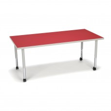 OFM Adapt Series Rectangle Student Table - 20-28″ Height Adjustable Desk with Casters, Red (RECT-SLC)