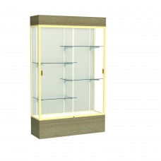 """Reliant 48""""W x 80""""H x 16""""D Lighted Floor Case, Plaque Back, Champagne Finish, Driftwood Base"""