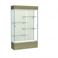 """Reliant 48""""W x 80""""H x 16""""D Lighted Floor Case, Plaque Back, Satin Finish, Driftwood Base"""