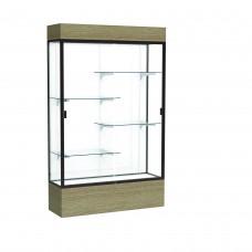 "Reliant 48""W x 80""H x 16""D Lighted Floor Case, White Back, Dk. Bronze Finish, Driftwood Base"