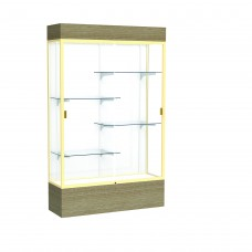 """Reliant 48""""W x 80""""H x 16""""D Lighted Floor Case, White Back, Champagne Finish, Driftwood Base"""