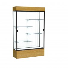 "Reliant 48""W x 80""H x 16""D Lighted Floor Case, White Back, Dk. Bronze Finish, Natural Oak Base"
