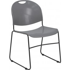 HERCULES Series 880 lb. Capacity Gray Ultra Compact Stack Chair with Black Frame [RUT-188-GY-GG]