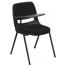 Black Padded Ergonomic Shell Chair with Right Handed Flip-Up Tablet Arm [RUT-EO1-01-PAD-RTAB-GG]