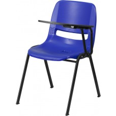 Blue Ergonomic Shell Chair with Left Handed Flip-Up Tablet Arm [RUT-EO1-BL-LTAB-GG]