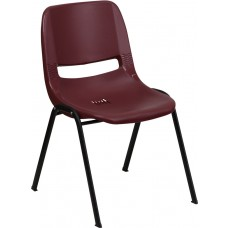 HERCULES Series 880 lb. Capacity Burgundy Ergonomic Shell Stack Chair [RUT-EO1-BY-GG]