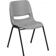 HERCULES Series 880 lb. Capacity Gray Ergonomic Shell Stack Chair [RUT-EO1-GY-GG]
