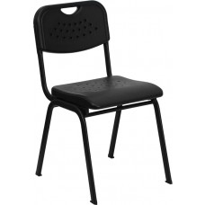 HERCULES Series 880 lb. Capacity Black Plastic Stack Chair with Black Frame [RUT-GK01-BK-GG]