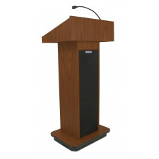 Executive Column Lectern - Wired Sound - Mahogany