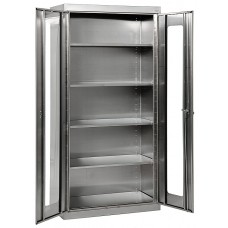 """Sandusky® 48"""" x 24"""" x 78"""" Clearview Storage Cabinet With Swing Handle Lock, Stainless Steel"""