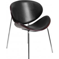 Mahogany Bentwood Leisure Side Reception Chair with Black Leather Seat [SD-2268A-7-GG]