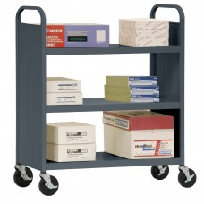 "Sandusky® 46""H x 39""W x 19""D Steel Flat Book Truck, 3 Shelf, Red"