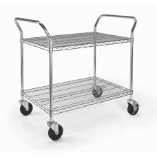 "OFM Core Collection X5 Series Heavy Duty 24"" X 36"" Mobile Utility Cart, in Silver (SHCART2436)"