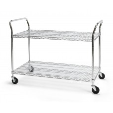 "OFM Core Collection X5 Series Heavy Duty 24"" X 48"" Mobile Utility Cart, in Silver (SHCART2448)"