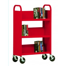 """Sandusky® 46""""H x 28""""W x 14""""D Steel Single Sided Sloped Book Truck, 3 Shelf, Red"""