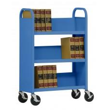 """Sandusky® 46""""H x 32""""W x 14""""D Steel Single Sided Sloped Book Truck, 3 Shelf, Charcoal"""