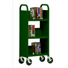 "Sandusky® 46""H x 18""W x 14""D Steel Single Sided Sloped Book Truck, 3 Shelf, Burgundy"