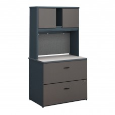 Bush Business Furniture Series A 36W Lateral File Cabinet with Hutch