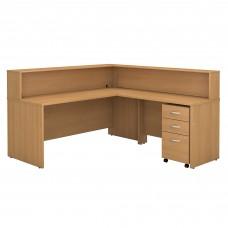 Bush Business Furniture Series C L Shaped Reception Desk with Mobile File Cabinet