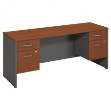 Bush Business Furniture Series C 72W x 24D Desk Credenza with 2 Pedestals