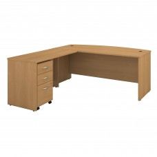 Bush Business Furniture Series C 72W Bow Front L Shaped Desk with 48W Return and Mobile File Cabinet