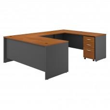 Bush Business Furniture Series C 72W x 30D U Shaped Desk with Mobile File Cabinet