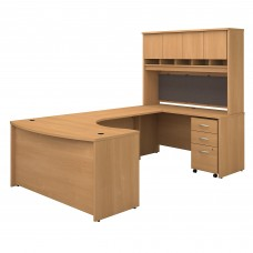 Bush Business Furniture Series C 60W Right Handed Bow Front U Shaped Desk with Hutch and Storage
