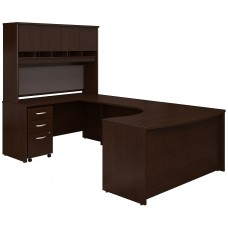 Bush Business Furniture Series C 60W Left Handed Bow Front U Shaped Desk with Hutch and Storage